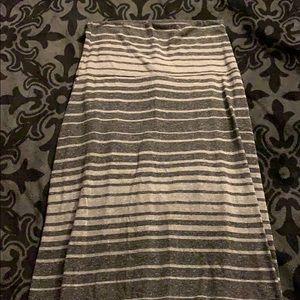 Grey striped maxi skirt